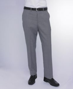SKOPES MENS EXTRA TALL WOOL BLEND FLAT FRONT TROUSER (TITAN) IN SILVER IN WAIST 32 TO 50, INSIDELEG 36