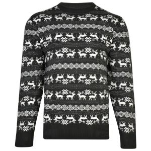 KAM Mens Big Size Rudolph Christmas Jumper (004) in Charcoal