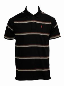 LOUIE JAMES POLY COTTON BLACK RED STRIPED GOLF POLO SHIRT SIZE M TO XXL