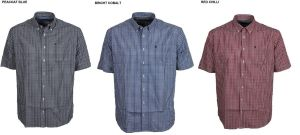 FARAH MENS COTTON RICH SHORT SLEEVED GINGHAM CHECK SHIRTS (HOGAN), SIZE S-XXL, 3 COLOR OPTIONS