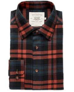 Mens Bar Harbour Big Size Brushed Cotton Rust And Navy Check