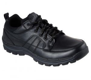 SKECHERS Men's Relaxed Fit Braver-Ralson Comfort Shoes in Black Leather