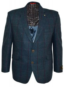 SCOTT Mens Classic Pure Wool Window Check Sports Jacket in Teal