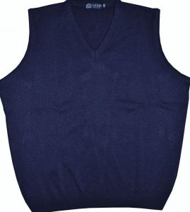 LOUIE JAMES MENS COTTON BLEND CLASSIC V NECK SLEEVE LESS JUMPER/ TANK TOP IN SIZE 2X TO 8XL, BLACK, NAVY & CHARCOAL