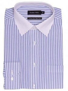 "MENS DOUBLE TWO COTTON RICH STRIPED LONG SLEEVED FORMAL SHIRT WITH CONTRAST COLLAR SIZE 18"" TO 23"""