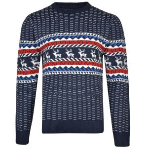 KAM Mens Big Size Rudolph Christmas Jumper (003) in Navy