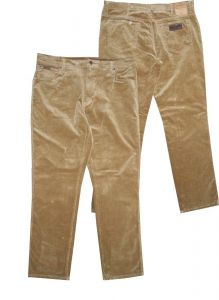 WRANGLER TEXAS MENS STRETCH CORDUROY 5 POCKET JEANS/ TROUSER (CUB) IN GOLD