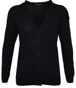 LOUIE JAMES MENS COTTON BLEND CLASSIC 6 BUTTON CARDIGAN WITH TWIN STRAIGHT POCKETS IN BLACK IN SIZE 2XL TO 6XL