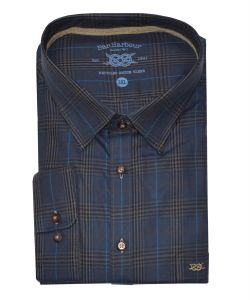 Mens Bar Harbour Big Size Pure Cotton Denim/Brown Check Long Sleeved Shirt