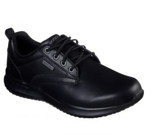 SKECHERS Men's Delson-Antigo Lace up Waterproof Casual Comfort Oxford shoes in Black