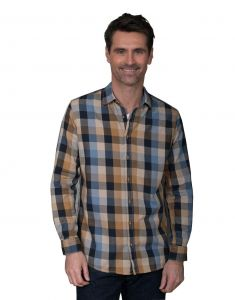 GCM Pure Cotton Big Check Long Sleeve Shirt (3620) in Sand/Navy in Size 2XL to 6XL