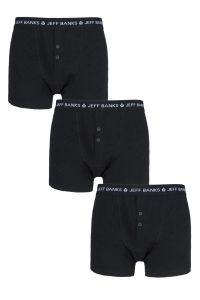 Jeff Banks Marlow Buttoned 3 Pack Boxer Shorts in Black, Navy, Multi