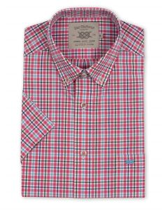 Bar Harbour Plus Size Short Sleeve Check Shirt In Pink Colour 2Xl-5Xl