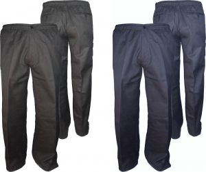 Mens Extra Tall Poly Cotton Casual Rugby Trousers (T40) in Black & Navy