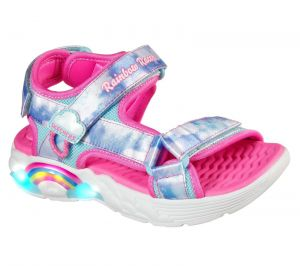 Skechers Rainbow Racer Sandals Summer Sky Beach Childrens Beach in Pink/Blue Textile