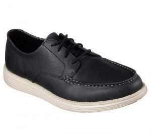 SKECHERS Men's Relaxed Fit Status-Lerado Casual Shoes in Black Leather