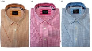 Casa Moda Cotton Gingham Check Shirt With Layered Collar, Multiple Colour Options