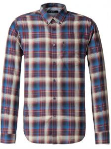 Ben Sherman Mens Big Size Long Sleeved Ombre Check Shirt in Wine