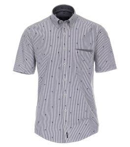 Casa Moda Mens Premium Cotton SS Comfort Fit Stripe Shirt