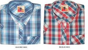 ESPIONAGE MENS SHORT SLEEVED WESTERN STYLE CHECKED SHIRT IN 2XL TO 8XL, 2 COLORS
