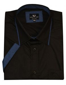 Mens Cotton Valley Short Sleeved Fashion Shirt (14346) in Black/Blue