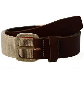 Wrangler Mens Stretchable Canvas Belt With Leather Ends Size S to XXL