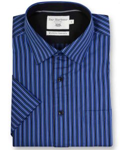 Bar Harbour Premium Cotton Short Sleeved Striped Leisure Shirt(0157) in 2 Colors