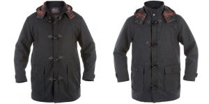 DUKE LONDON WOOL DUFFEL COAT WITH TOGGLES & DETACHABLE HOOD, SIZE M-XL, 2 COLORS