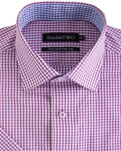 Double Two Pure Cotton Short Sleeve Easy Care Checked Formal Shirts (SS19)