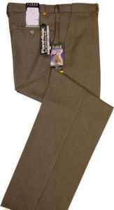 FARAH FLAT FRONT FLEXI WAIST TROUSERS IN COLOUR TAUPE MARL