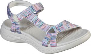 Skechers On The Go 600 Electric Touch Fastening Sandal Sandal Ladies Summer in Natural/Multicoloured