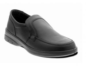 PADDERS FORMAL WIDE FIT LEATHER SLIP ON BLACK SHOES (LEO) IN SIZE UK6 TO UK13
