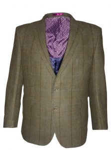 SCOTT Mens Pure New Wool Window Check Tweed Sports Jacket in Green Size 50 to 60