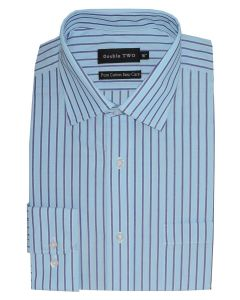 "DOUBLE TWO Mens Pure Cotton Easy Care Long Sleeved Striped Formal Shirts (3609) in Collar 15 TO 23"", 3 COLOR OPTIONS"