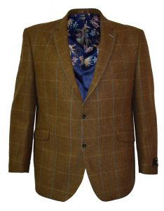Scott By The Label Mens Big Size Pure Wool Tweed Jacket in Gold/Light Blue