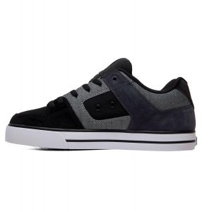 DC Shoes Mens Pure SE Premium Leather/Nubuck/ Suede Shoes in Black/Grey/White