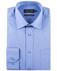 Double Two Pure Cotton Poplin Long Sleeved Shirt (4000) in Collar Size 14.5 to 23 Inches, Multiple Colour Options