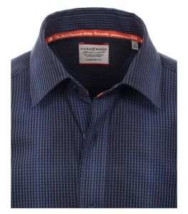 Casa Moda Premium Cotton Long Sleeve Navy Mini Check Shirt in Navy in Size L to 3XL