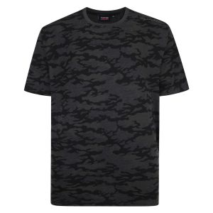 Espionage Mens Big Size Camo Tee in Black/Charcoal (314)