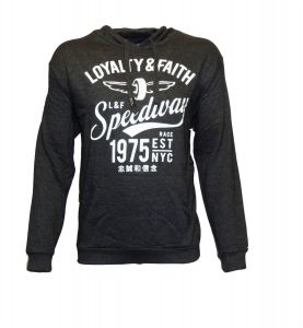 Loyalty And Faith Mens Soft Fleece Pull Over Hooded Sweat Shirt (Abrial) in Charcoal Marl