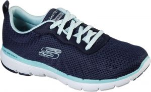 Skechers Flex Appeal 3.0 - First Insight Lace Up Air Cooled Memory Foam Shoe Ladies Sports in Navy/Aqua