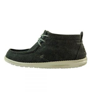 DUDE Shoes Mens Conrad Black Canvas Chukka Boot