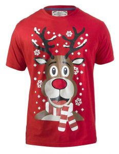 RUDY-D555 Mens Extra Tall Rudolph Printed Christmas T-shirt With Lights And Music