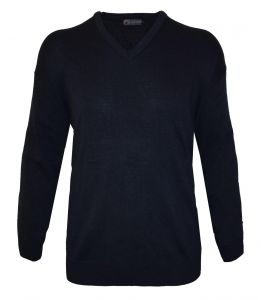 LOUIE JAMES MENS COTTON BLEND CLASSIC V NECK LONG SLEEVED JUMPER/ PULL OVER IN SIZE 2X TO 8XL, BLACK, NAVY & CHARCOAL