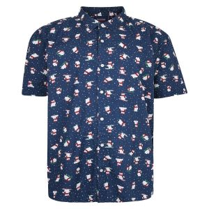 Espionage Mens Big Size Christmas Print Shirt (343) in Navy