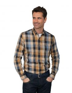 GCM Pure Cotton Checked Long Sleeve Shirt With Button Down Collar (3600), Size 2XL to 6XL