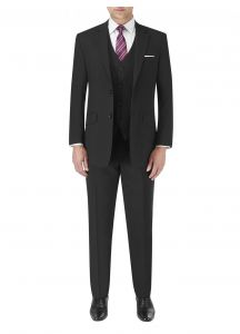 SKOPES Darwin Black 2 Piece Single Breasted Suit, S/R/L