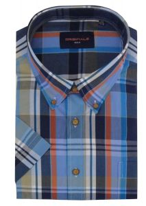 GCM Pure Cotton Large Check Leisure Short Sleeved Shirts (3710) in Size 2XL to 6XL