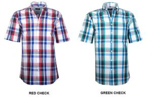 GCM MENS PREMIUM COTTON SHORT SLEEVED CHECKED SHIRTS (3116) SIZE 2XL TO 5XL, 2 COLORS