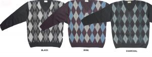 CARABOU MENS COTTON BLEND ARGYLE V NECK LONG SLEEVES PULLOVER 2XL TO 4XL, WINE, CHARCOAL & BLACK
